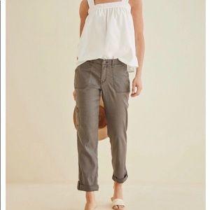 Anthropologie Studio 99 Linen Cropped Cargo Pants